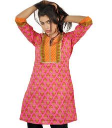 Buy Jaipuri HandBlock Flower Print Pink Cotton Top 502 kurtas-and-kurti online