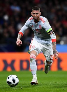 Sergio Ramos of Spain runs with the ball during an International friendly match between Spain and Argentina at the Wanda Metropolitano stadium on March 27, 2018 in Madrid, Spain. - 151 of 176