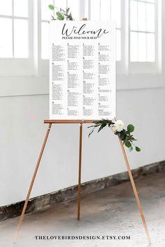 Alphabetical Wedding Seating Chart Printable Sign Simple   Etsy Wedding Program Template Free, Free Wedding Templates, Seating Chart Wedding Template, Save The Date Wedding, Save The Date Card, Table Seating Chart, Wedding Table Seating, Wedding Signs, Wedding Ideas