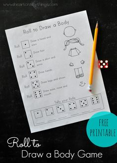 Preschool Activity: Roll to Draw a Body Game {Free Printable} | Learn about the body while practicing math, pencil grasp and early writing skills. | from iheartcraftythings.com