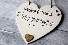 Madeat94 50th Golden Wedding Anniversary Personalised Heart Grandma Grandad
