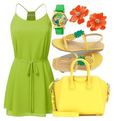 """Go Bright"" by dhieta17 on Polyvore featuring Talbots, Givenchy, Kenneth Jay Lane, Summer, dress, TankDress and brightcolor"