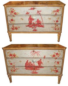 A Pair of Important and Whimsical Century Venetian Polychrome Commodes 4546 - C. Mariani Antiques, Restoration & Custom, San Francisco, CA. Chalk Paint Furniture, Hand Painted Furniture, Recycled Furniture, Antique Furniture, Cool Furniture, Furniture Storage, Furniture Ideas, Elegant Home Decor, Elegant Homes