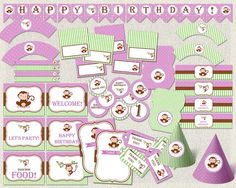 Printable Birthday Party Decorations by PixiePerfectParties Birthday Party Decorations, Birthday Parties, Monkey Girl, Pink And Green, Purple, Party Printables, Pink Girl, Thank You Cards, Girl Birthday