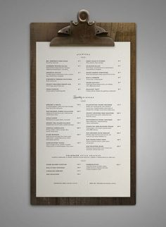 minimal, beautiful menu on a clip board