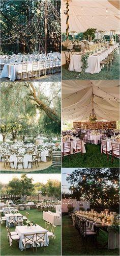 outdoor wedding reception decoration ideas with string lights #weddingideas #weddingdecor #weddinginspiration #weddinglights #outdoorwedding #backyardwedding #weddingdecoration