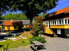 Hotel Skovly, Rønne, Bornholm. One of the apartments, the golf-course and the restaurant.
