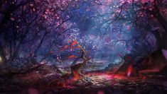 This HD wallpaper is about pink and brown trees digital wallpaper, artwork, fantasy art, Original wallpaper dimensions is file size is Fantasy Forest, Forest Art, Forest Landscape, Fantasy Landscape, Forest Background, Background Images, Fantasy Kunst, Fantasy Art, Blood Art