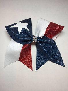 Texas patriotic American cheer bow