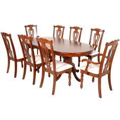 Juego de Comedor (8 personas) ZOYSIA marca Commodity, mesa ovalada de madera, sillas de madera.    Dimensiones: Mesa:  Alto: 76 cms  Largo: 190 cms  Ancho: 99 cms Sillas:  Alto: 105 cms  Largo: 48 cms  Ancho: 44 cms