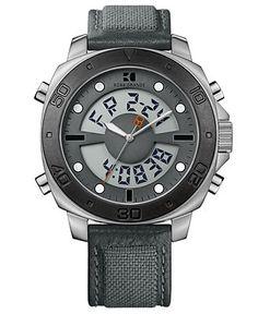 Hugo Boss Watch, Men's Analog Digital Gray Fabric Strap 49mm 1512680 - Hugo Boss - Jewelry & Watches - Macy's