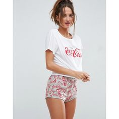 ASOS Coca Cola Tee & Short Pyjama Set ($33) ❤ liked on Polyvore featuring intimates, sleepwear, pajamas, multi, short pajamas, asos pajamas, short pajama set, cotton pyjamas and cotton pajama set