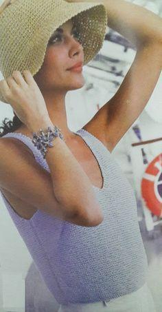 Patrón para tejer una musculosa a dos agujas Santa Clara, Panama Hat, Knitting, Hats, Bikinis, Crochet Tops, Fashion, Linen Pants, Knitting Needles