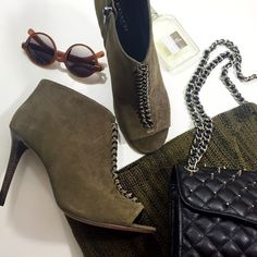 """Coach Olive Suede Chain Detail Ankle Booties Details: • Size 10 • Olive oiled suede • Gunmetal chain detail • Open toe • Side zip • 4"""" heel • Brand new in box  03241607 Coach Shoes Ankle Boots & Booties"""