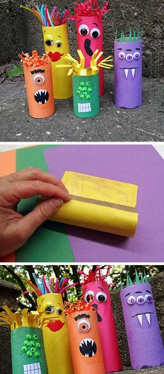 Family of Ghouls from Cardboard Tubes | Click for 24 DIY Halloween Party Ideas for Kids | DIY Halloween Treats for School Parties