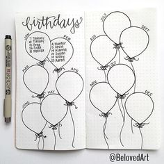 Bullet Journal Collection Ideas - The Best Ones! - Slightly Sorted Bullet journal collection ideas birthday balloons Bullet Journal Collection Ideas - The Best Ones! - Slightly Sorted Bullet journal collection ideas birthday balloons Bullet Journal Writing, Bullet Journal 2020, Bullet Journal Aesthetic, Bullet Journal Ideas Pages, Bullet Journal Spread, Bullet Journal Inspo, My Journal, Journal Pages, Bullet Journal Birthday Page
