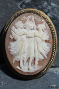 """Vintage Gold fill over Brass Hand Carved Shell Cameo """"Three Graces"""" Pendant Brooch Pin"""