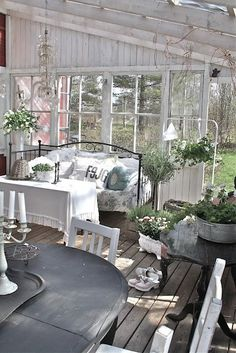 shabby chic guest cottage- Lady-Gray-Dreams. Love the bee skep on the table.