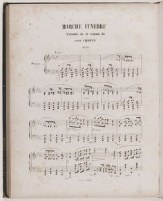 Frederic Chopin (1810-1849). Funeral March Op. 35, played at the funerals of the composer, abstract from his Piano Sonata. Printed score, Brandus editions. Paris, musee de la Vie romantique, photo by Roger Voillet / East News