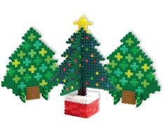 It's easy to create these dimensional trees with Perler Beads! There's the natural-looking evergreen in different shades of green, and the decorated tree with a shining star on top. Everything you need for your Christmas and winter scenes!