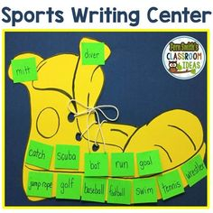 Sports Writing Center -  In general, most boys in the primary grade are extremely creative. Just get a little boy to talk about his favorite sport or superhero and there is no stopping them! But getting them to write all of it down is a little more challenging with boys. Click here to see my quick and easy to prep sports writing center. #Free