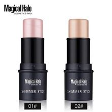 Magical Halo 2 Color Face Contouring Makeup Shimmer Stick Highlighter Stick Pen Brighten Skin 3D Face Bronzer Highlighter Powder(China (Mainland))