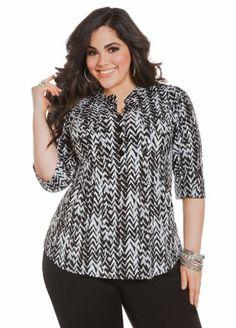 Fashion Bug Womens Plus Size Banded Collar Blouse www.fashionbug.us