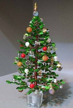 Beaded Christmas tree with ornaments