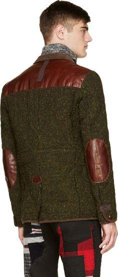 Junya Watanabe Green Tweed & Leather Smoking Jacket