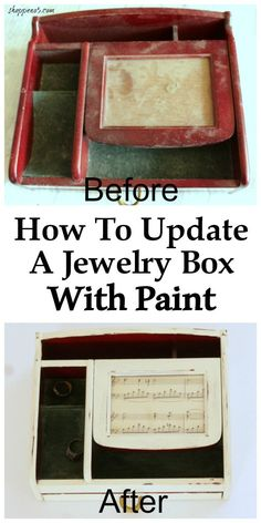 You see jewelry boxes all of the time, at thrift stores and garage sales.  My neighbor gave me this one when it didn't sell at her garage sale.  I decided how to update a jewelry box with paint would be a good project for this month's Thrift Store Decor Upcycle Challenge.