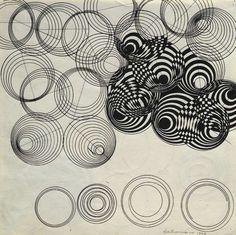 Dadamaino, Disegno ottico dinamico, 1964. Ink on paper, Italy.