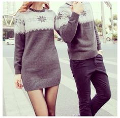 Cute Girlfriend Boyfriend Matching Winter Jumper for 2 featuring ...