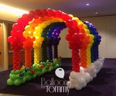 A few arches in rainbow order lined up next to each other create a colorful tunnel leading to your event! Clown Balloons, Rainbow Balloons, Rainbow Theme, Colorful Christmas Decorations, Balloon Decorations, Balloon Ideas, Retirement Parties, Birthday Parties, Diy Party