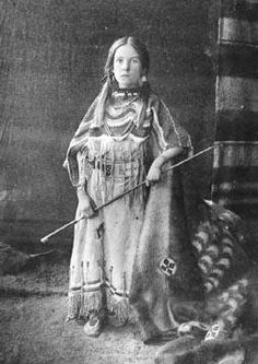 Mary White (the wife of Joe Royal) - Blackfoot - circa 1890 {Note: Mary White is said to have been a white girl captured by the Blackfoot when she was very young. She was then adopted and raised as any Blackfoot woman would be, by Dog Child (aka Winnipeg Jack) and his family.}