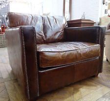 Genuine Leather Boston Arm Chair - Vintage Cigar