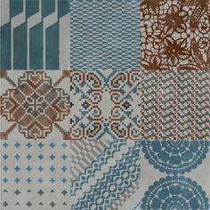 "Mutina ""Azulej"" 8""x8"" porcelain tiles by Patricia Urquiola in grey colorway"