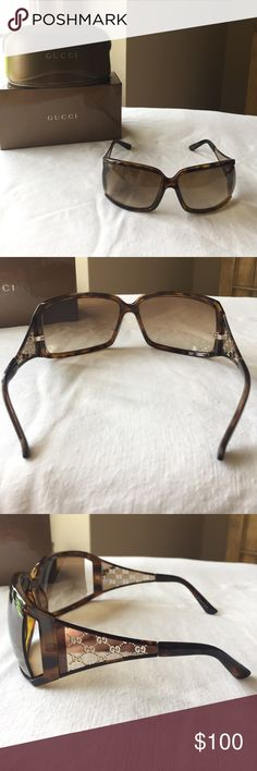 Gucci sunglasses These are a beautiful brown and gold pair of authentic Gucci glasses. They have only been worn a few times and are in excellent shape. There are no scratches on the lenses or glasses. The sides of the glasses have the G logo in gold. The inside of the glasses says Made in Italy, GG 2999/S NHOK1 65 114 110. The other inside says Gucci. These so come with the original box and case. Gucci Accessories Sunglasses