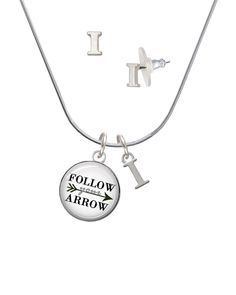 Silvertone Domed Follow Your Arrow - I Initial Charm Necklace and Stud Earrings Jewelry Set *** You can find more details by visiting the image link. #ILoveJewelry