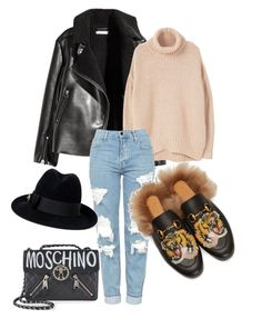 """#76 street style: Sunday garmz"" by ruby-darke ❤ liked on Polyvore featuring MANGO, Topshop, Gucci and Moschino"