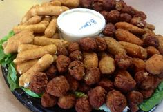 Appetizer Party Platter....cheese sticks, meatball, chicken strips, and chicken wings.  A different take on the regular party platter. http://pinterest.com/pin/220183869255593898/
