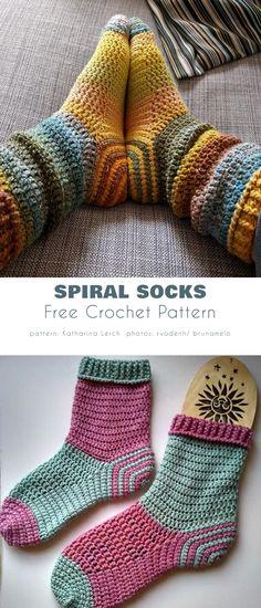 Easy Crochet Socks, Crochet Sock Pattern Free, Crochet Gloves, Crotchet Socks, Free Crochet Slipper Patterns, Free Crochet Patterns For Beginners, Slippers Crochet, Spiral Crochet, Crochet Gifts