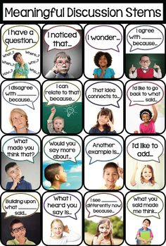 Meaningful Student-Led Discussion Stems! Give students the language they need to ask a question or reply with a comment or relevant thought during a discussion!