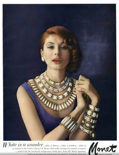 Jewerly vintage monet 28 Ideas for 2019 1950s Jewelry, Jewelry Ads, Vintage Costume Jewelry, Vintage Costumes, Jewelry Trends, Vintage Jewelry, Bold Jewelry, Skull Jewelry, Antique Jewelry