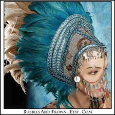 Mother Earth....  Feather Headdress with Metal Gypsy Veil. via Etsy.