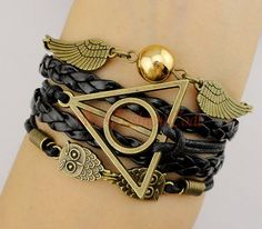 Angel Wings, Wing, Pearl, Deathly Hallows, Owl, Harry Potter Bracelet, Black Wax Cord, Leather Braid, Christmas, Friendship, Bridesmaid Gift...