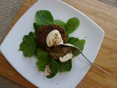 Spiced Carrot and Lentil Burgers, with Tahini Yoghurt Dressing