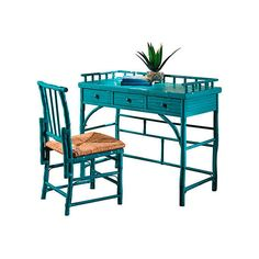 Eastbrook Desk and Chair Set Turquoise Writing Desks ($725) ❤ liked on Polyvore featuring home, furniture, desks, island furniture, turquoise desk, turquoise furniture and tropical furniture