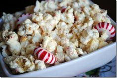 I love this stuff! White chocolate peppermint popcorn.