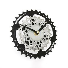 Recycled Bicycle Gear Desk Clock, Bike Clock, Upcycled Clock, Eco Clock, Eco friendly Decor, Bicycle Clock, Cycling Gift, Bike, Gift for Him by treadandpedals on Etsy https://www.etsy.com/uk/listing/189786769/recycled-bicycle-gear-desk-clock-bike