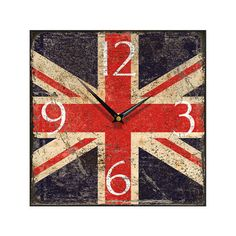 Shabby  chic Union Jack wall clock. £18.99  http://www.worldstores.co.uk/p/Union_Jack_Shabby_Square_Wall_Clock.htm